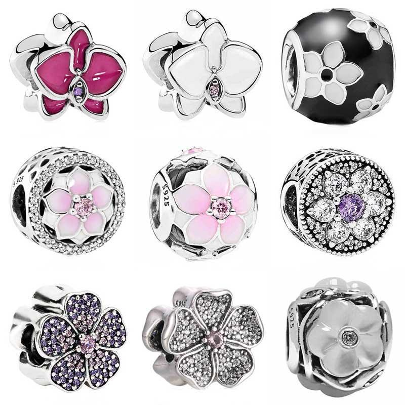 Розовый сверкающий Primrose Незабудка Орхидея Магнолия Bloom Fit Пандора браслет 925 пробы серебро украшения из бисера Шарм
