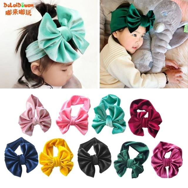 Kids Velvet Floppy Bows Turban Headband Baby Twisted Knot Big Bow Headbands 7a12d3ae420