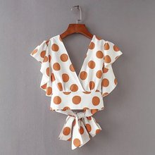 Buy big knot tie and get free shipping on aliexpress breetrendy cs3273 women backless v neck big polka dot print bow knot tie shirts short ccuart Images