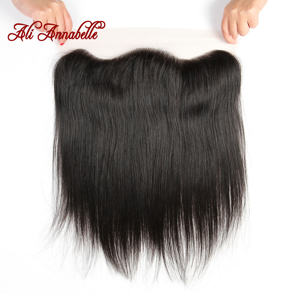 HTB1Bai2jlDH8KJjSspnq6zNAVXai ALI ANNABELLE HAIR Straight Brazilian Human Hair Bundles With Transparent Lace Frontal/Medium Brown 3 Bundles with Lace Closure