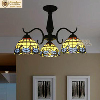 Mediterranean Style Tiffany Iron Stained Glass Coiled Pendant Lights Hanging Lamps for Home Decor, Bar, Restaurant