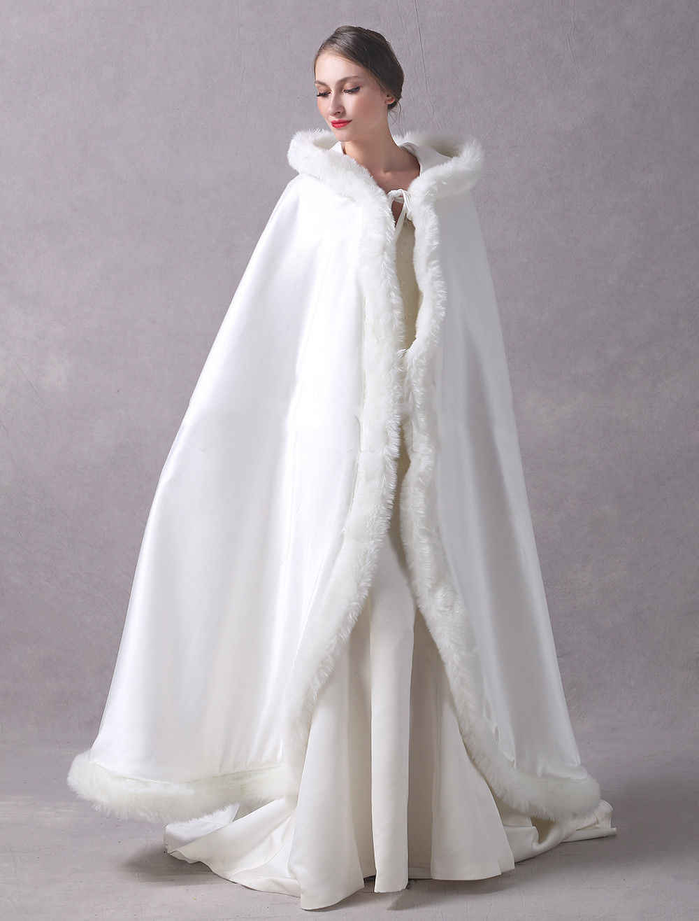 Women/'s Champagne Bridal Cloak Hooded Satin with Faux Fur Wedding Cape Shawl