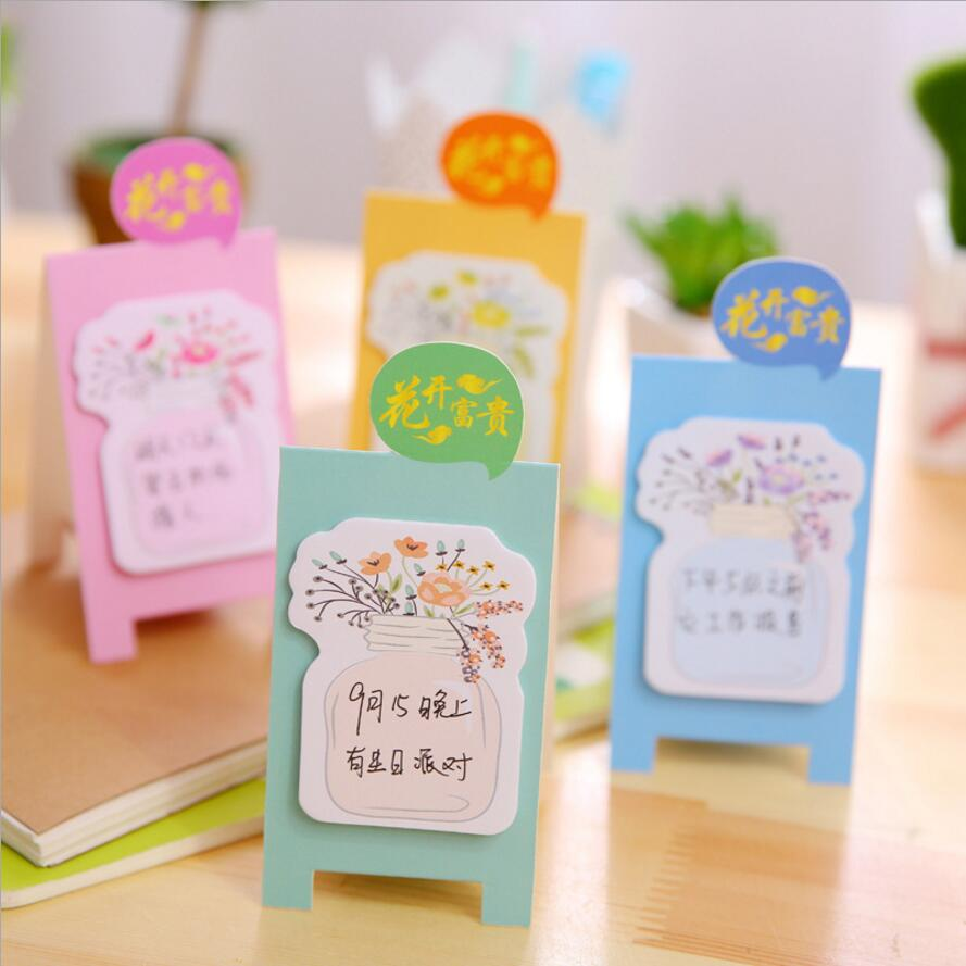4 pcs/lot Cute Blooming Bottle Cultured Floewrs Memo Pad Sticky Notes Escolar Papelaria School Supply Bookmark Post it Label6160