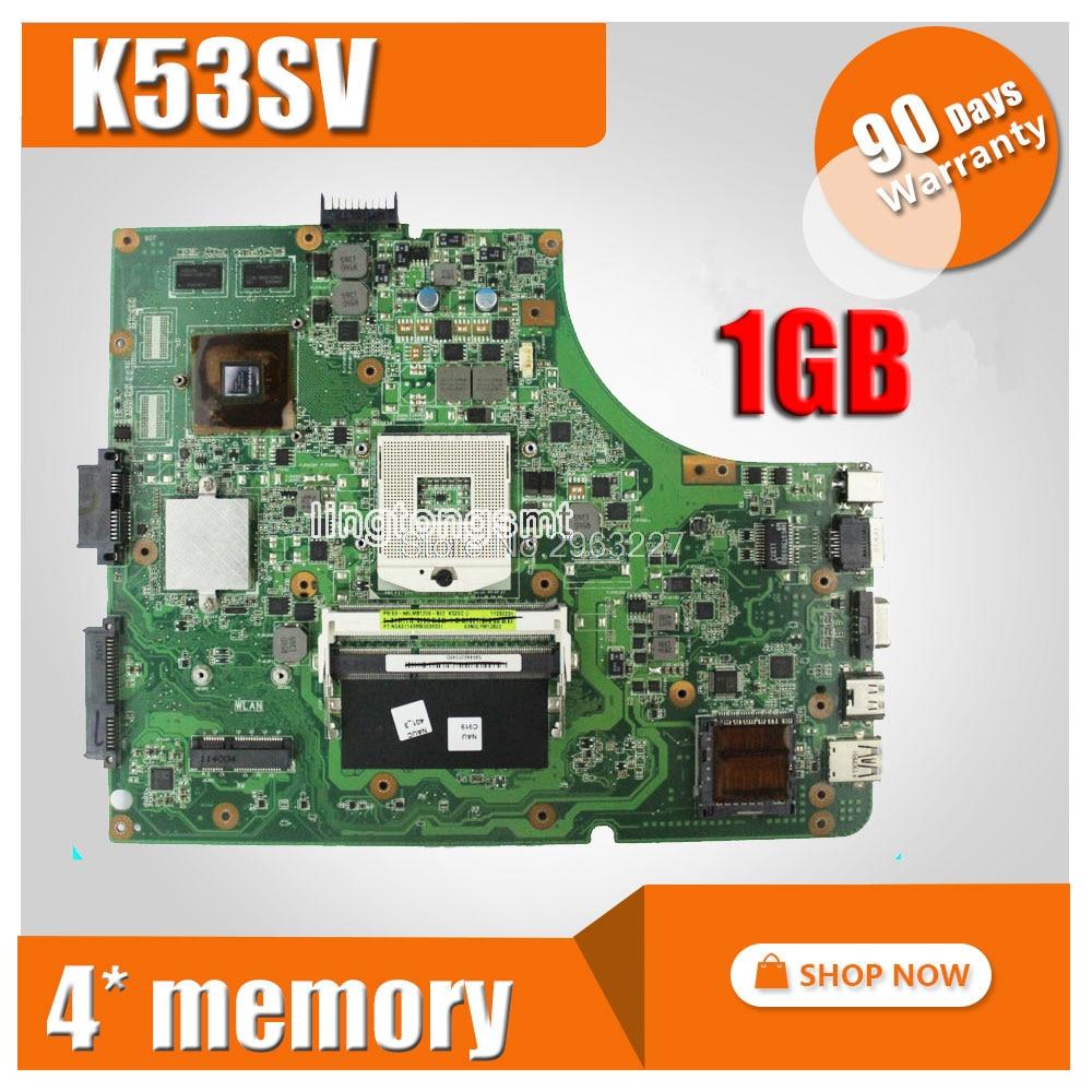 K53SV Motherboard REV 3.1/3.0 HM65 1G GT520M For ASUS P53SJ k53S X53SV A53S Laptop motherboard K53SV Mainboard K53SV Motherboard free shipping working new laptop motherboard for asus k53sv rev 3 1 main board warranty 90 days