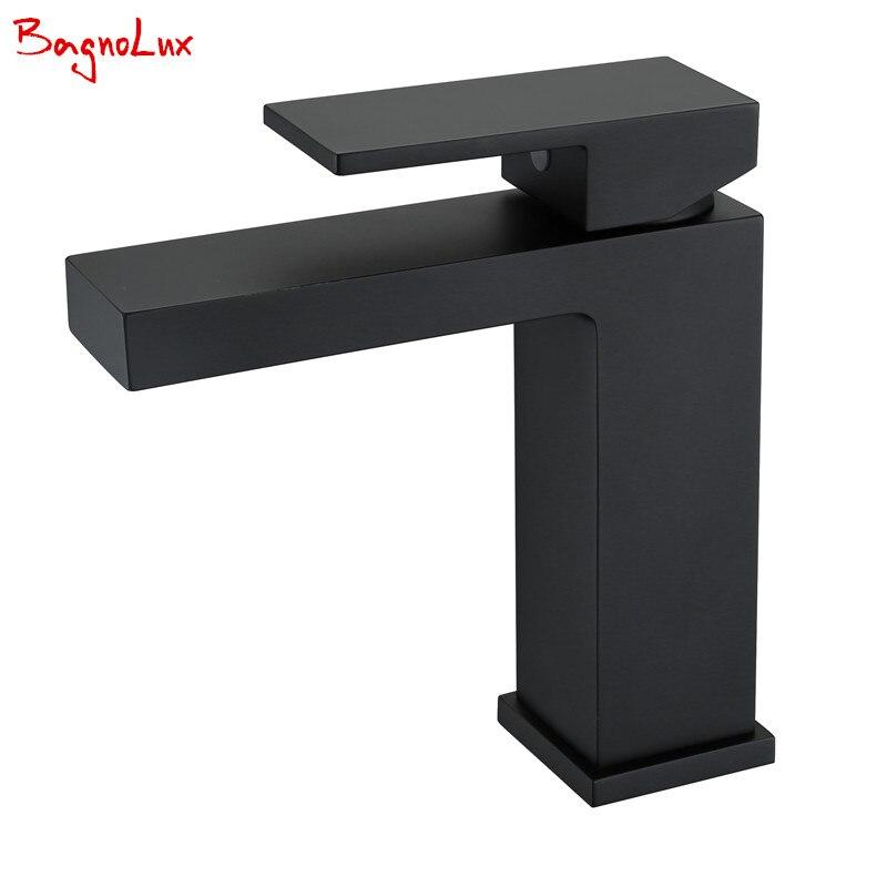 Salle de bain petit bassin robinet mélangeur 100% en laiton massif nouveau Design de luxe pont montage navire robinet noir or Chrome argent carré