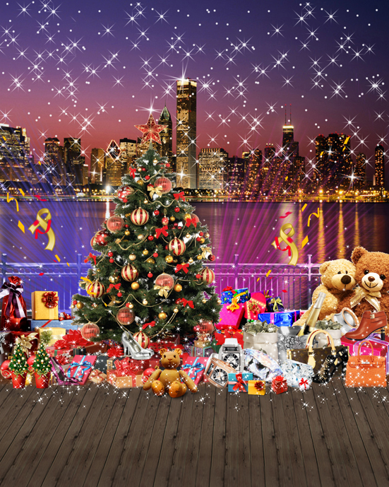Sparkly Glitter CITY skyline River Tree XMAS background Vinyl cloth High quality Computer printed party photo backdrop