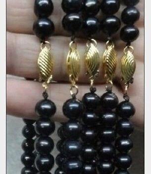 "Miss charm Jew894 14k wholesale 5pcs south sea AAA+ black pearl necklace 18"""