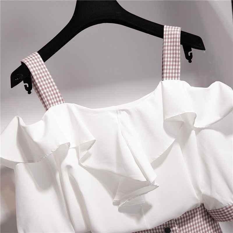 قميص نسائي صيفي 2020 ذو رباط سباغيتي بكشكشة شيفون + قميص منقوش بقطع قماش غير متناسقة طقم أنيق لحفلات السيدات Z211