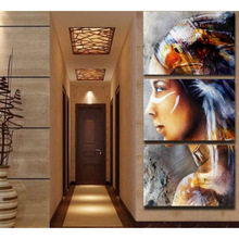 Pop Art Canvas painting  Wall Pictures for Hotel Bedroom Decorative Home Decor Triple Indian Girl paintings