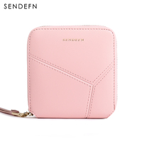 SENDEFN 2017 New Wallet Women Purse Brand Zipper Wallet Female Short Wallet Women Split Leather Purse