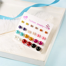 12 pairs multicolor Simulated Pearl Earrings Set For Women Jewelry On Ear Ball Round resin Stud kit Bijouteria brincos