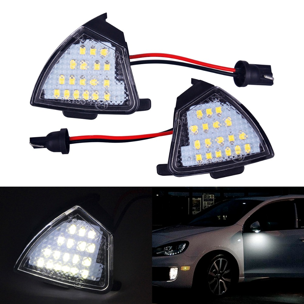 2xCar-styling LED Under Side Mirror Puddle Lights Turn Signal Lamp No Error for Volkswagen VW Golf 5 MK5 MKV Passat B6 Jetta Eos abs mirror cover chrome matt painted cap side mirror housings for volkswagen jetta golf 5 passat b6 ct