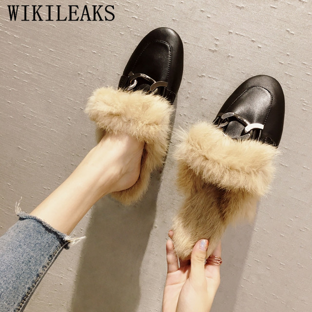 brand chain fur mules shoes woman zapatos mujer sapato feminino slip on loafers women flats designer luxury brand casual shoes