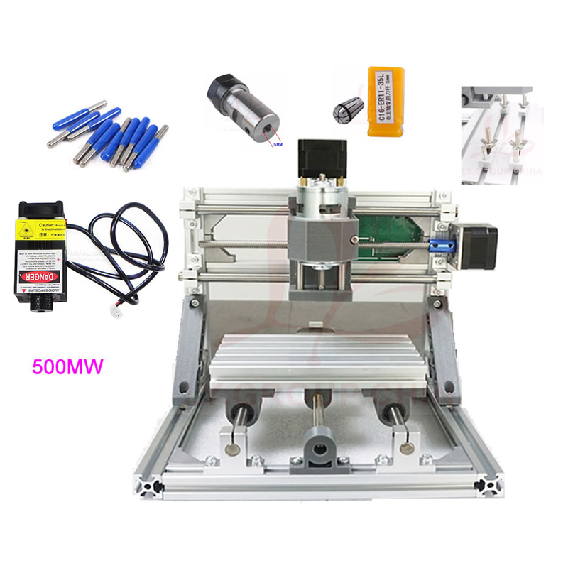 DIY Mini CNC 3018 Router + 500MW 2500MW 5500MW laser with 300*180mm Engraving Area for Woodworking duckdog 70035