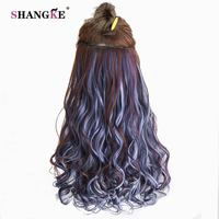 SHANGKE 24 Long Curly Clip In Hair Extensions Heat Resistant Hair Pieces Colorful 5 Clip In
