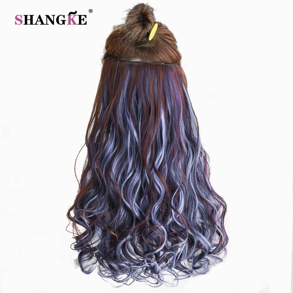 SHANGKE 24'' Long Curly Clip In Hair Extensions Heat