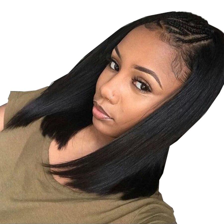 RXY 12x6 Синтетические волосы на кружеве человеческих волос парики с ребенком волос 150% Короткий покрой боб парик малайзийские Волосы remy натура...