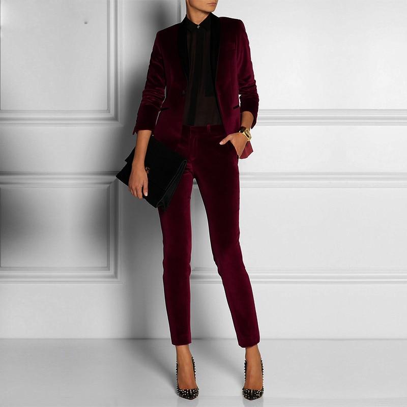 Angepasst Samt Wein Rot Dame Frauen Hose Anzüge Dame Damen Business Büro Smoking Formale Arbeit Tragen Anzüge Hose Blazer 2 Stücke