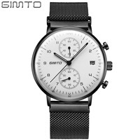 GIMTO Raised Arched Glass Sport Watches For Men Military Function Chronograph Watches Men Luminous Mens Watches Top Brand Luxury
