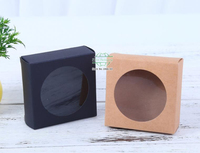 Black and Brown Color Kraft paper gift box package with clear pvc window candy favors arts&krafts display package box