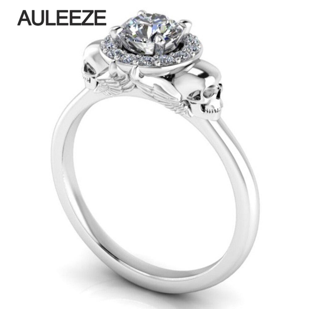 Halloween Solide 10 K Or Blanc Bague de Fiançailles Double Crâne Halo Simulé Diamant Vintage Anneau De Mariage Unique Or Bague en Diamant