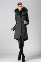 New arrived trench coat faux fur lined and real raccoon dog black green fur collar mr mrs fur jacket in men's and women's
