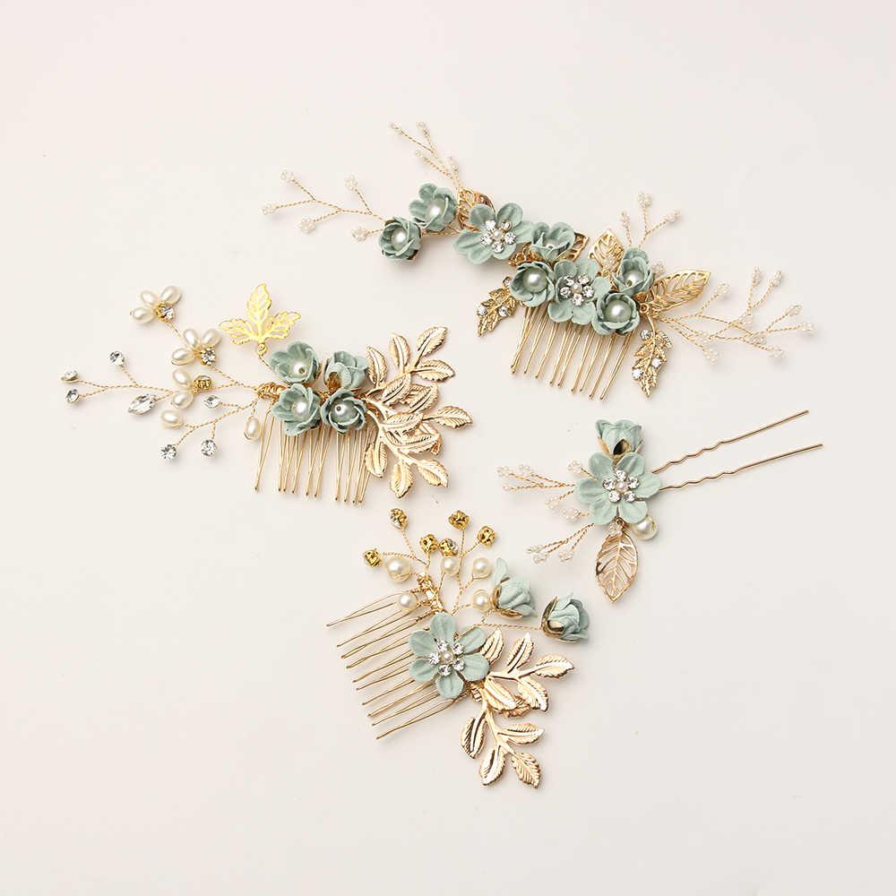 Модный Роскошный синий цветок расчески для волос повязка на голову Выходные туфли на выпускной бал свадебные аксессуары для волос, золотистый листья украшение для волос шпильки