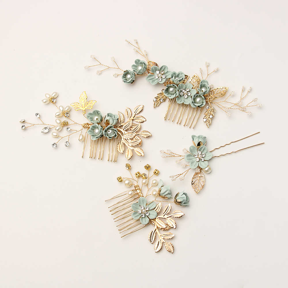 Fashion Luxury  Blue Flower Hair Combs Headdress Prom Bridal Wedding Hair Accessories Gold Leaves Hair Jewelry Hair Pins