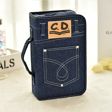 Fashion denim CD case large capacity disc storage box car office CD package music DVD package(China)