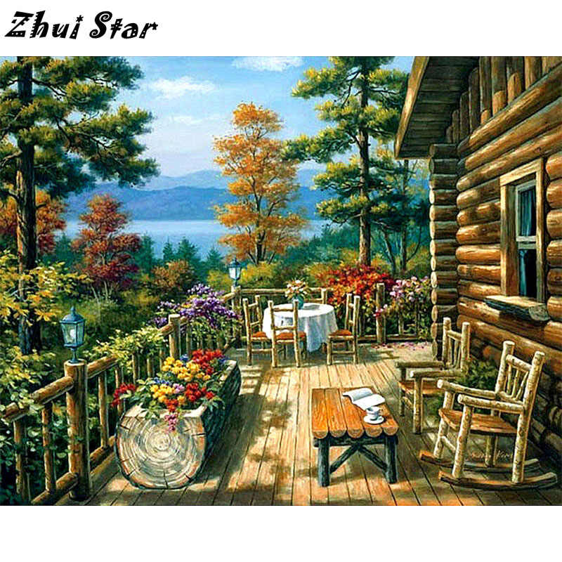 NEW 5D DIY Diamond Painting Wooden house Embroidery Full Square Diamond Cross Stitch Rhinestone Mosaic Decor FC1379