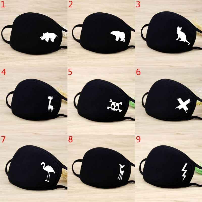 Unisex quente espessamento meia cara máscara boca algodão padrão dos desenhos animados anti-poeira respirador anti-bacteriano clássico preto branco