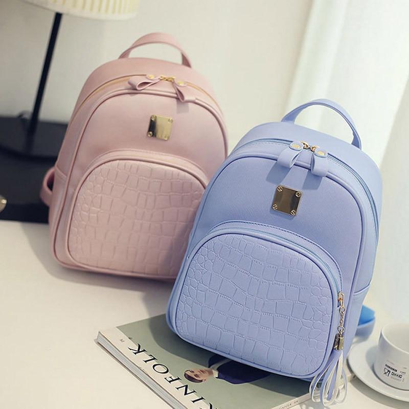 Women Backpacks PU Leather Shoulder Bag Crocodile Pattern Mini Backpack School Bags Mochila  Popular