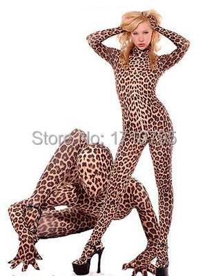 Hot Sale Leopard <font><b>Lycra</b></font> Zentai Fullbody <font><b>Catsuit</b></font> <font><b>Sexy</b></font> Halloween Suit free shipping image