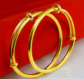 2pcs Smooth Children's Expandable Bangle  Yellow Gold Filled Kids Baby Bangle Dia 50mm