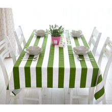 Superbe Modern Green And White Stripe Fruit Cotton Tablecloth