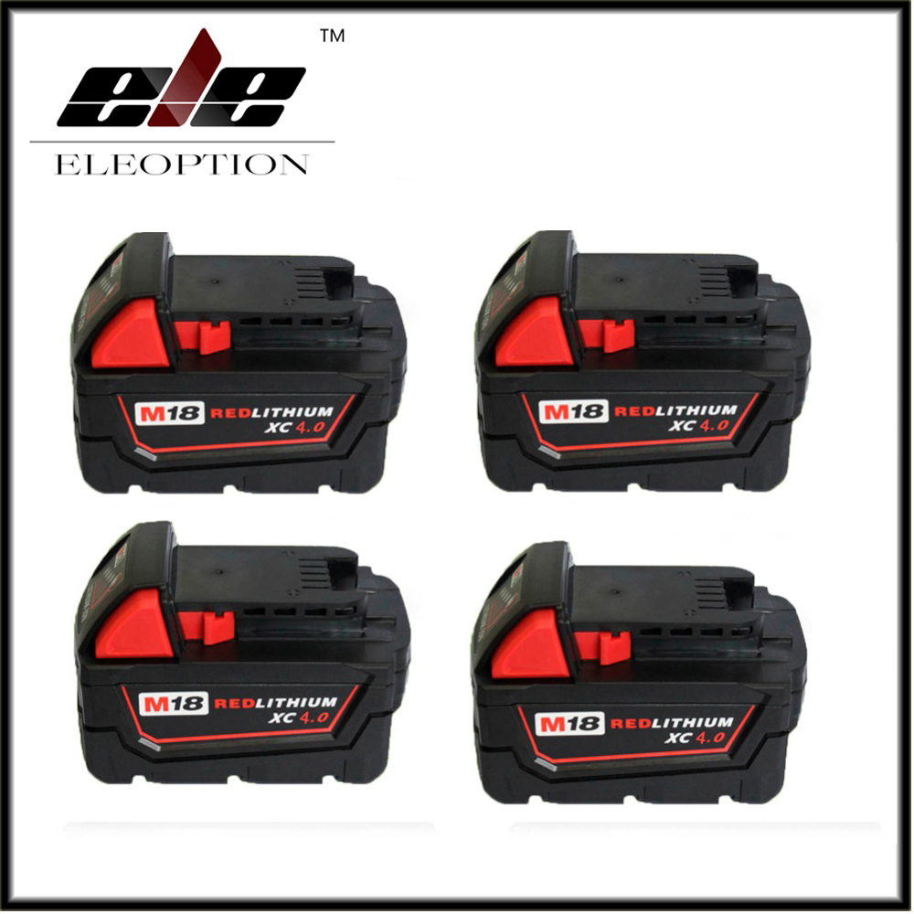 4x Eleoption New18V Li-Ion 4000mAh Replacement Power Tool Battery for Milwaukee M18 XC 48-11-1815 M18B2 M18B4 M18BX Li18 18v li ion 3000mah replacement power tool battery for milwaukee m18 xc 48 11 1815 m18b2 m18b4 m18bx li18 with power charger