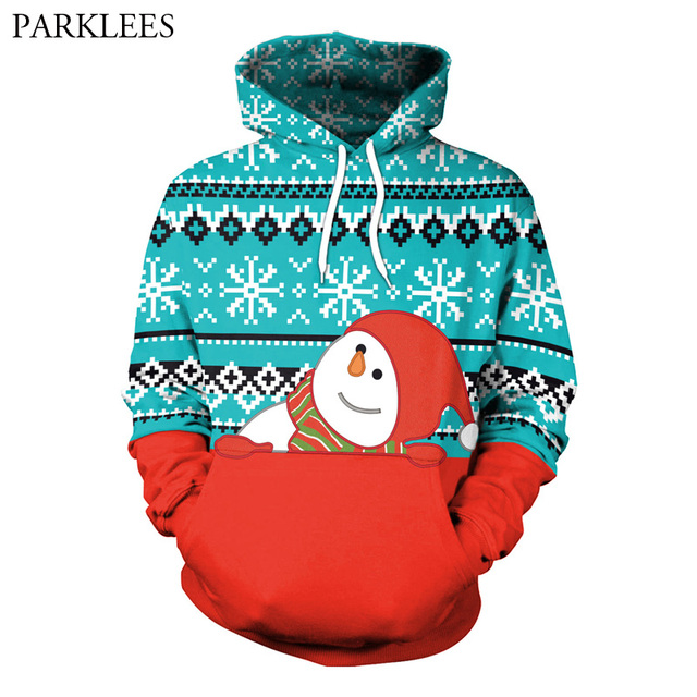3D Snowman Print Hoodies Sweatshirts Men Women 2018 Brand New Christmas  Hoodie Pullover Men Harajuku Hip Hop Tracksuit for Gift e6da963840ab