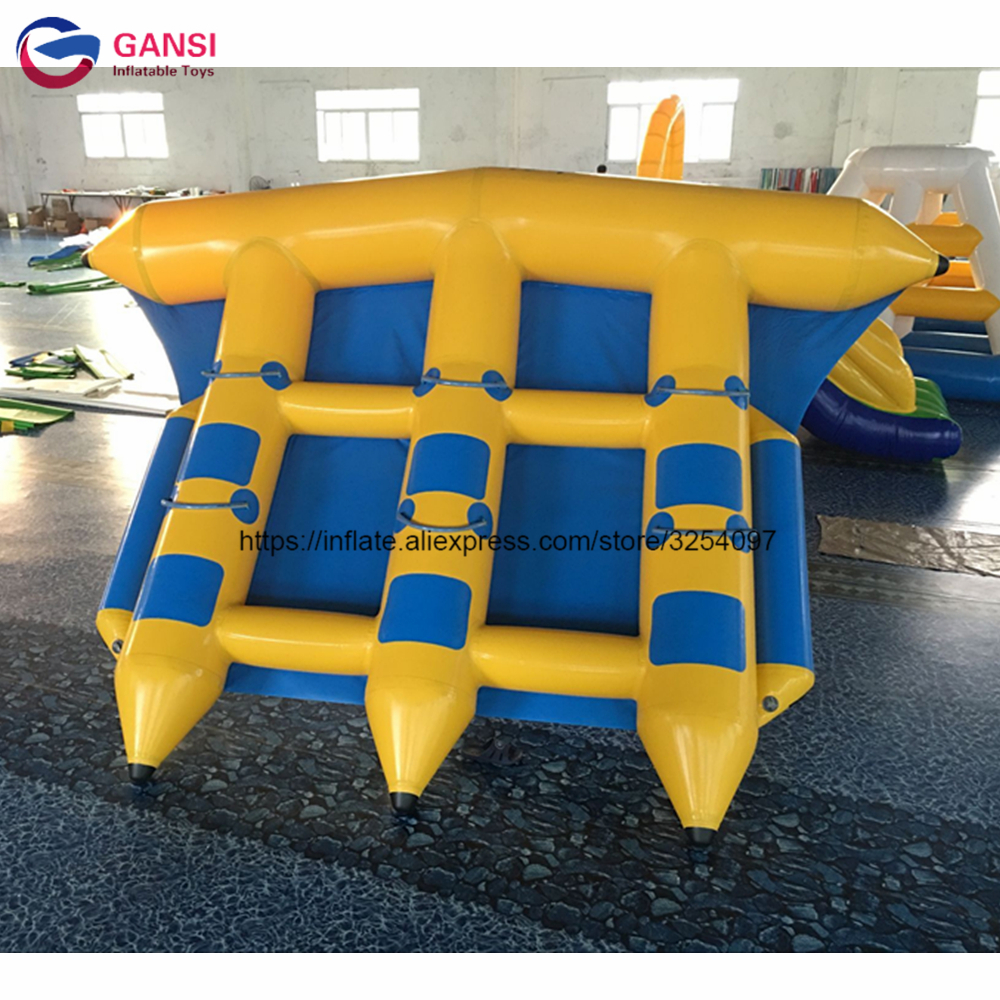 4*3m water boats inflatable fly fish with high quanlity,funny water sports inflatable flying fish towable for kids and adults 3 1 2m inflatable seesaw for water sports