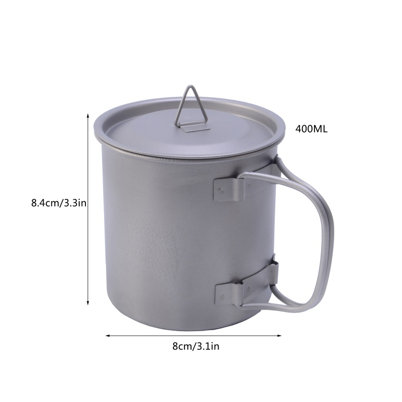 Image 5 - 400ml Titanium Pot Titanium Water Mug Cup With Bowl Cover Foldable Handle Outdoor Camping Pot Cooking Pots Picnic Hang Pot-in Outdoor Tablewares from Sports & Entertainment