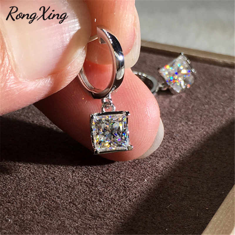 RongXing Square White Zircon Hoop Earrings for Women 925 Silver/Rose Gold Filled Crystal Stone Earrings Female Wedding Jewelry