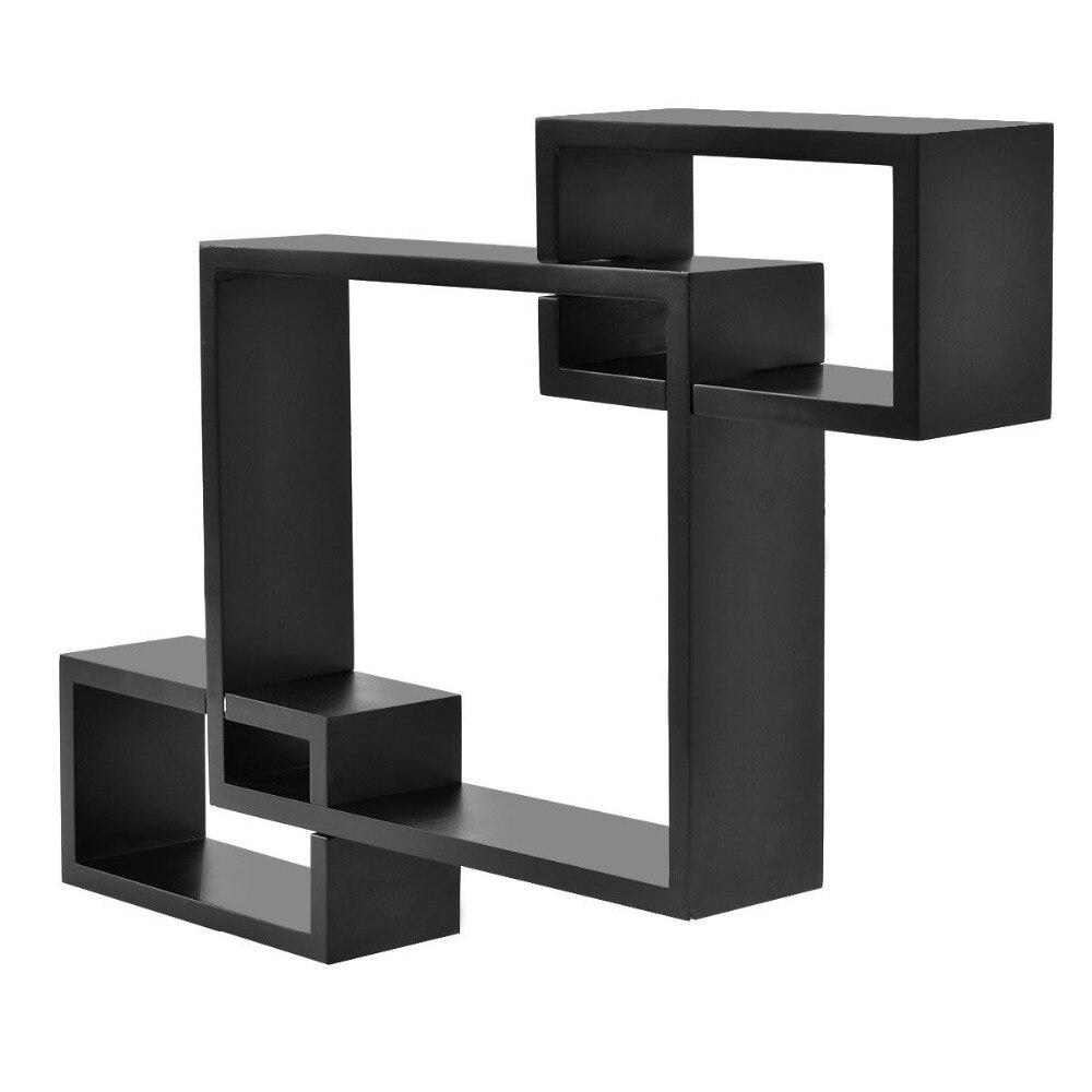 Goplus Black Intersecting 3 Rect Boxe Floating Shelf Wall Mounted Home Decor Wood Modern Bookshelf Storage Display Rack HW53011