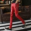 Мужская мода Искусственной Кожи Брюки Multi Цвета Тощий Slim Fit Tight Искусственной Кожи Pu Брюки Для Мужчин