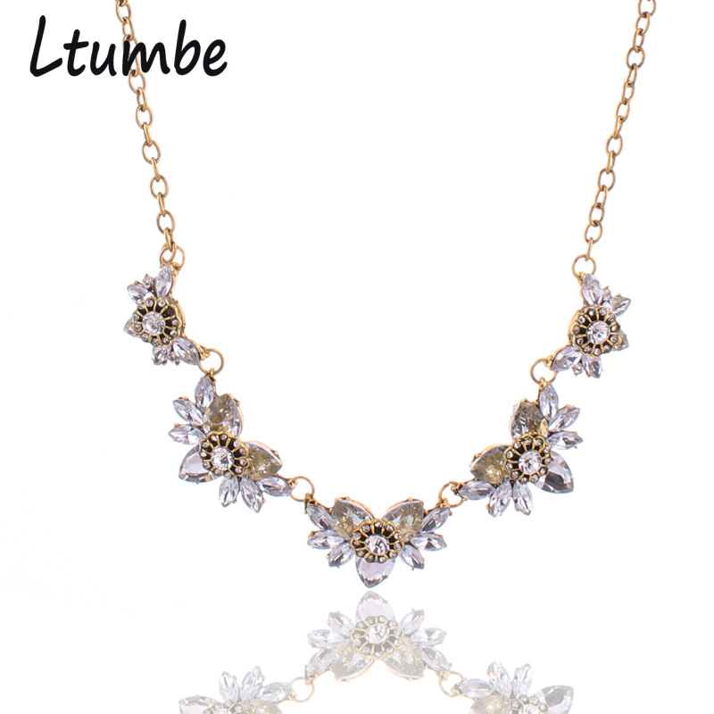 Ltumbe Noble Gold Color Shining Austrian Crystal Leaves Flowers Necklaces & Pendants Collier Femme For Women Statement Jewelry