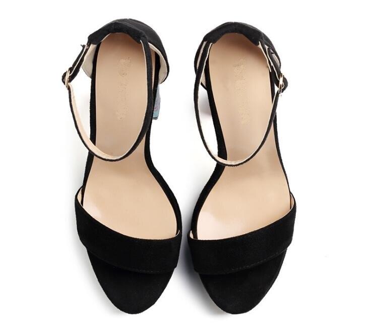 Ms/Лидер продаж; пикантные однотонные замшевые босоножки на квадратном каблуке с очень высоким задним ремешком и открытым носком; черные туфли на высоком квадратном каблуке с ремешком на щиколотке - 5
