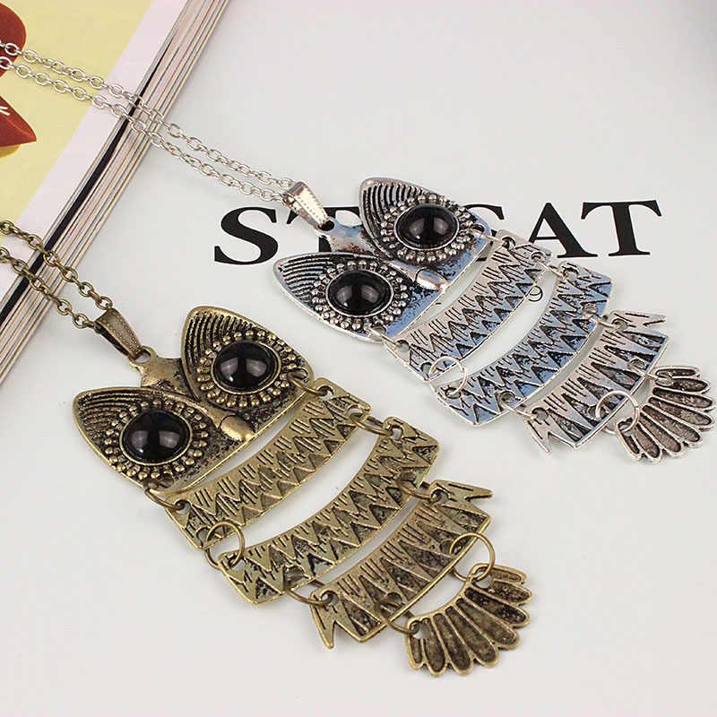 F & U Top vente hibou mode bijoux Style coréen rétro métal hibou collier Long chandail chaîne Punk Style européen et américain