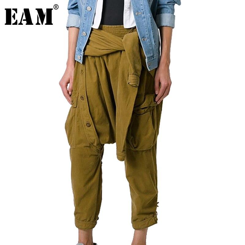 [EAM] Новинка 2018 года Осень Зима Высокая талия черный Badgae крест Bandgae штаны со швами для женщин мотобрюки мода прилив JG754