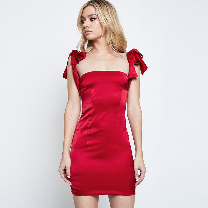 Sleevesless reflective silk Summer Dress Slash Neck Backless Slim Bow Lace up strap Red Sexy Satin Party MiniDress