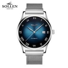 Watches Men Luxury Brand SOLLEN Automatic mechanical watch waterproof business style Men Stainless Steel Watch zegarki meskie