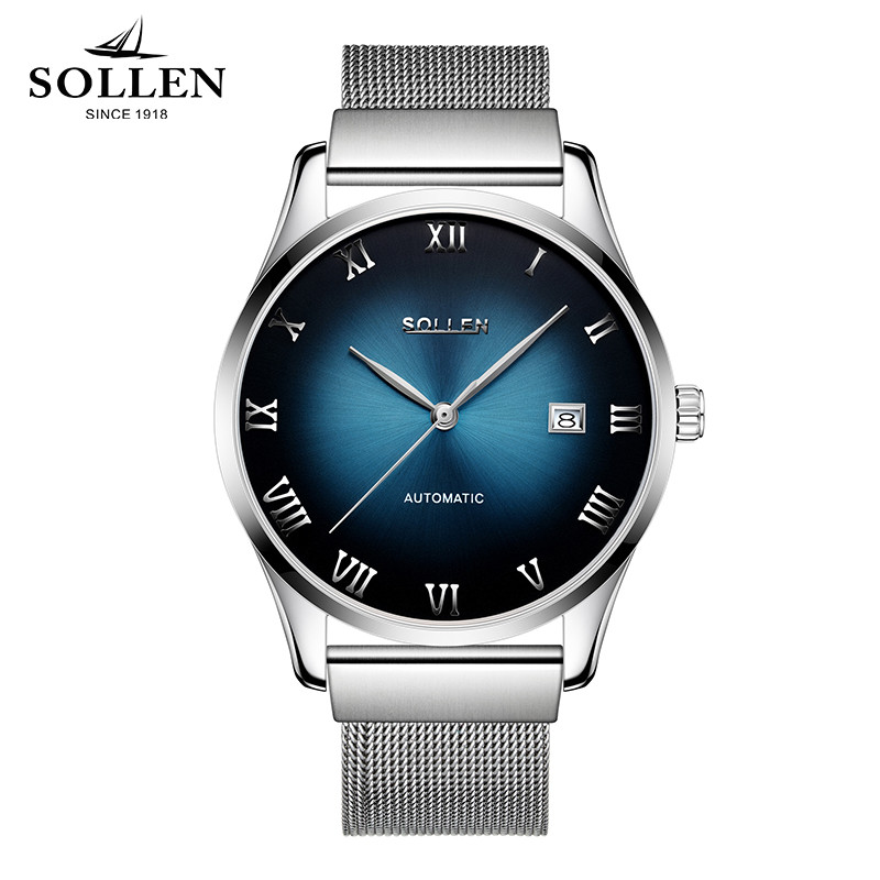 Watches Men Luxury Brand SOLLEN Automatic mechanical watch waterproof business style Men Stainless Steel Watch zegarki meskie