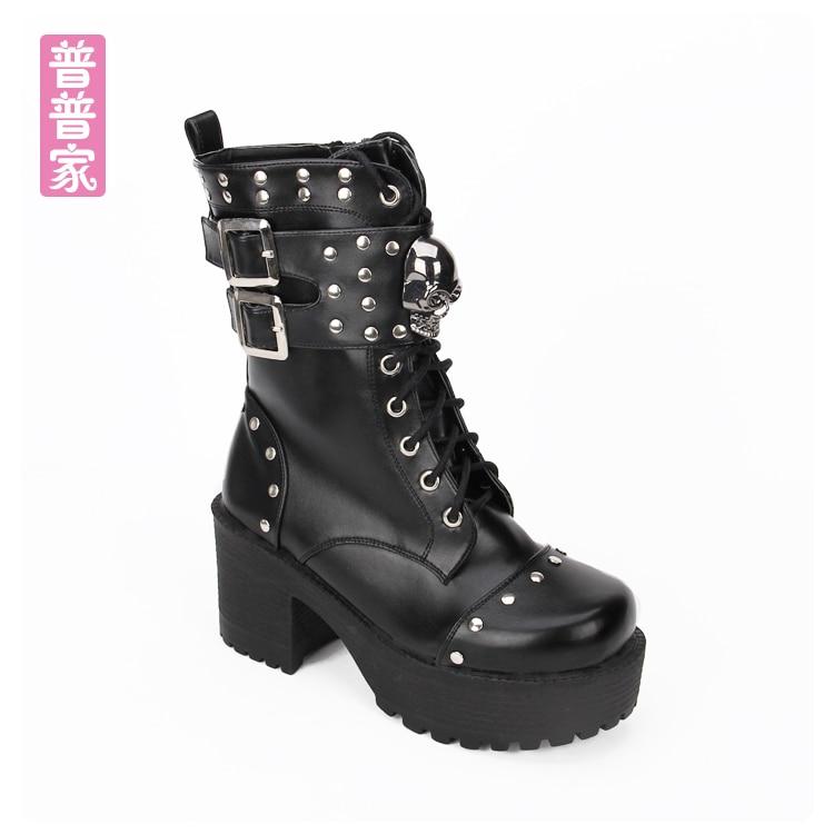 Dans Rivet Pu8825 Punk Mode Avec Fond Le Noir Vent Princesse Femmes Muffin Épais Doux Chaussures Japonais Et Crâne Bottes BxwqzPTH